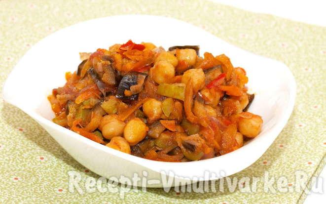 Рецепт аппетитного нута с курицей и овощами в мультиварке