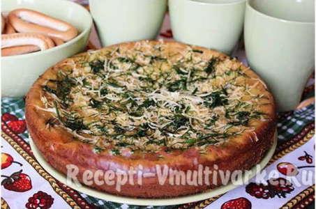 Аппетитный пирог из жидкого теста с грибами в мультиварке