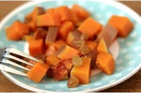 Рецепт сочной медовой тыквы с изюмом в мультиварке