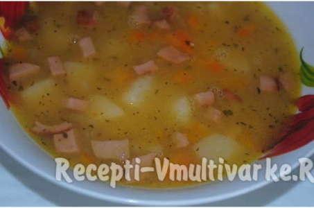 Рецепт приготовления горохового супа с копченой курицей в мультиварке