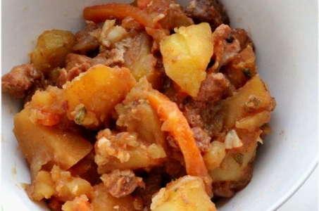 Рецепт сочной индейки с картошкой и грибами в мультиварке