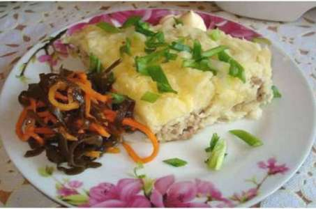 Рецепт сочной картофельной запеканки с фаршем в мультиварке Поларис