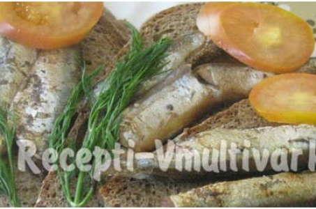 Рецепт сочных шпрот, приготовленных в мультиварке