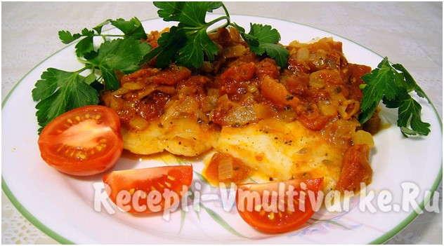 аппетитное блюдо с овощами и рыбой