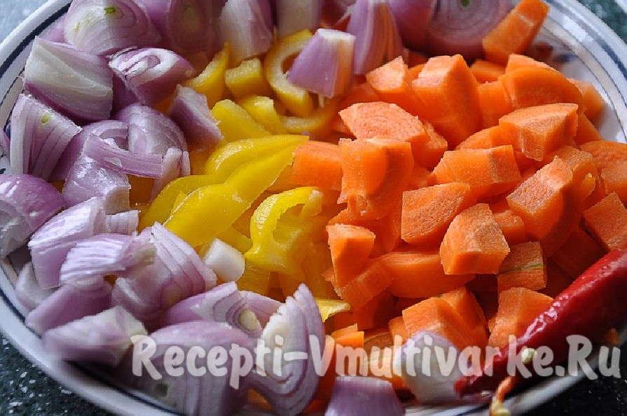 добавить овощи в чашу