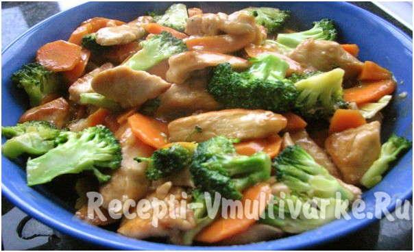 аппетитное блюдо птицы с овощами