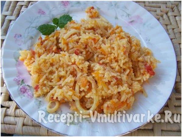 замечательное блюдо с рисом и морепродуктом