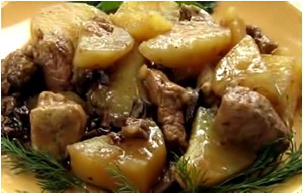 Запечь картошку с грибами и мясом в духовке рецепт 37